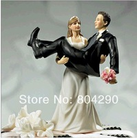 Free shipping Bride holding Groom Resin Figurine Wedding Cake Toppers