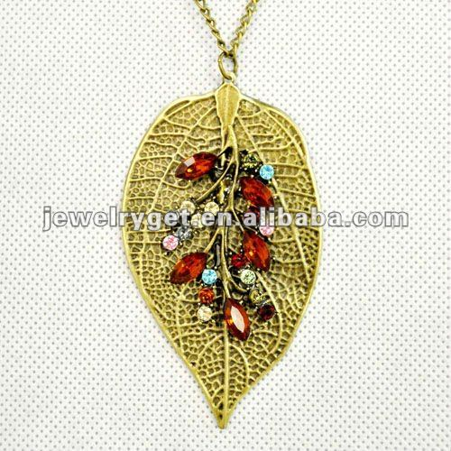 iron leaf charm pendant necklace with red and colored rhinestones, great design.NL-1795(China (Mainland))