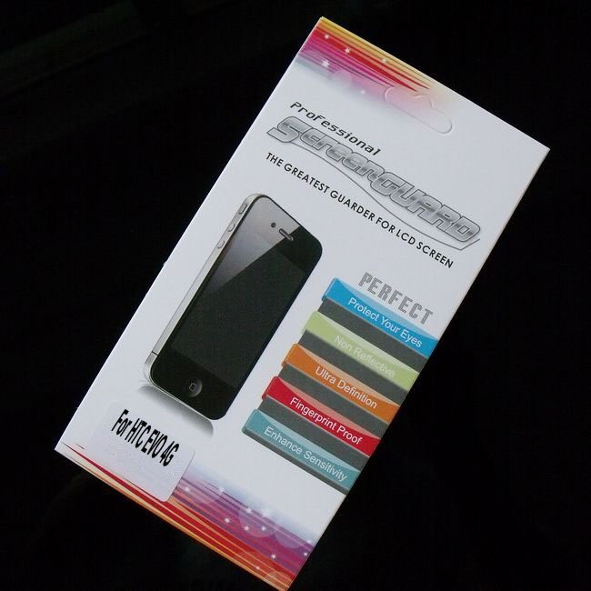 High Clear LCD Screen Protector for HTC EVO 4G Sprint 4G Screen Guard with Retail Packaging 500pcs/lot Free Shipping(China (Mainland))