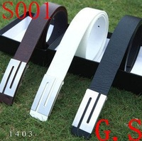 Fashion Faux Leather Premium S Shape Metal Mens strap man Ceinture Buckle Belt men's belt free shopping Free shipping