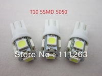 Free Hongkong post  5smd t10  5050 car led light 194 168 192 W5W LED Light Auto Bulbs  Wedge Interior Light