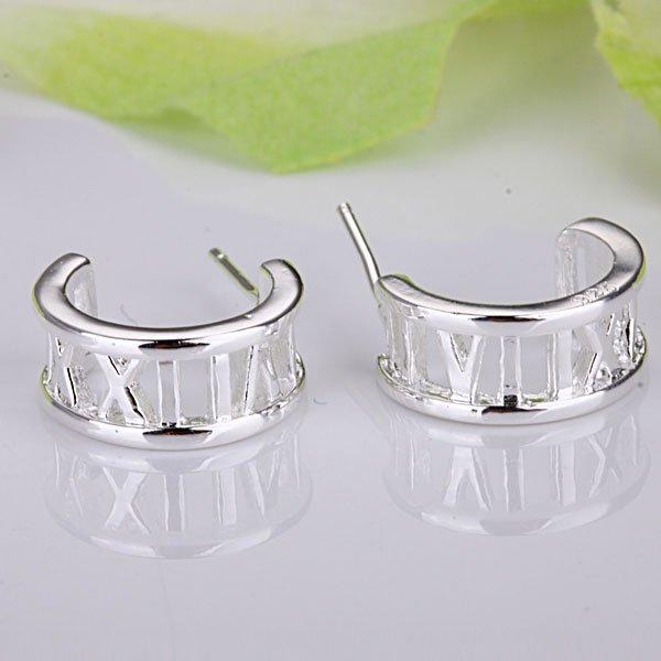 Fashion jewelry 925 Silver Free Shipping Half Round Rome Earrings E046(China (Mainland))