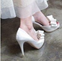 Women 2012 Fashion Sexy Bowtie Mesh Fish Mouth White Wedding Sandals/ Bride Shoes Party Shoes Euro Size:34-40 L218