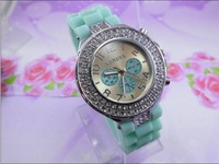105pcs HOTsale Wholesale Black Silicone Watch GENEVA Fashion Women Sports double Crystal quartz wrist Watch ladies wristwatches