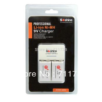 Soshine SC-V1 9V Smart Charger with 2 PCS 9V 600mAh Rechargeable Batteries