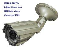 "1/3"" Sony EFFIO-E 700TVLine IR D/N Varifocal lens 2.8-12mm Outdoor IR Camera,50M Night Vision, Free shipping"