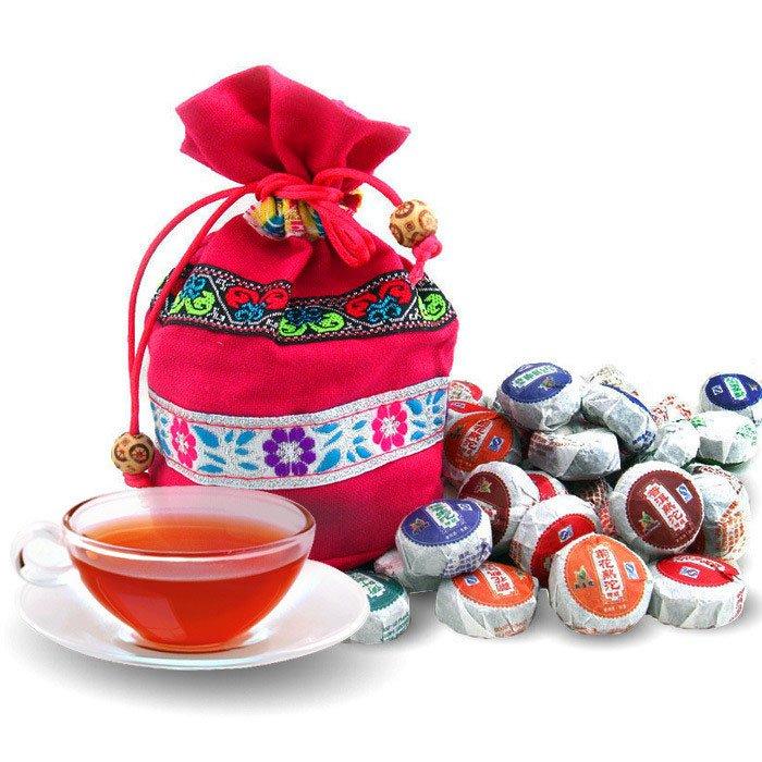 В продаже! 50 видов вкус пу эр, Pu'erh чай, Мини юньнань чай пуэр, Китайский чай, С мешком подарков, Бесплатная доставка