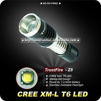 Trustfire Z8 Flashlight 3 Mode 1000 Lumens CREE XM-L T6 LED Flashlight By 14500 Battery Zoomable Flashlight Adjustable Torch