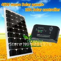45W 18V high efficiency MONO Solar Panel + 1 pcs 10A 12V 24V automatic distinguish solar charger controller for lighting