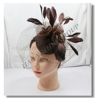 free shipping fashion roses fascinator hair accessory,4 colors,sinamay base fascinator 6pcs/lot