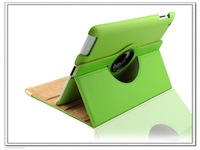 Business Leather green Case for iPad 3 2 Stand cases for ipad 4 360 rotate  Smart cover with fashion design+Free shipping