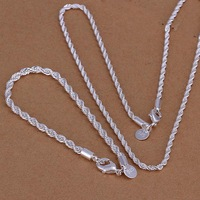 FSS051 Fashion Sterling Silver 925 Jewelry Set For Men Rope Chain Necklace And Bracelet