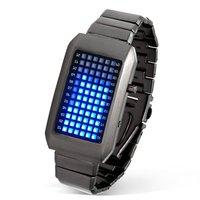 Fashion digital blue bright LED matrix stainless steel gift sport wrist watch  Time/Date