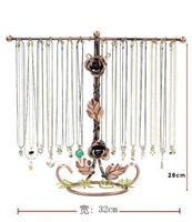 32 Hooks Copper Metal Rose Necklace Holder Organizer Stand Jewelry Display Show  Organizer