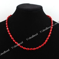 Hot Design 3 String Charms Round Water Drop Red Coral CoralliteBeads Fit Bracelets Necklaces 111223 Free Shipping