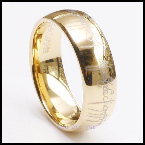 10PCS Fashion Lord Ring Tungsten Carbide Gold Plat Mens Wedding Brand w Gifts Box Size 8