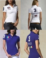 US IT GB FR flag woman's Short Sleeves shirts Pique Cotton Solid women t Shirt size S-XL Embroidery logo European style