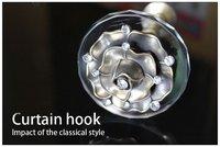 Home Hardware European Crystal Rose Wall Hook Curtain Buckle/Curtain Hooks