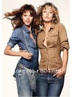Loli New Women Ladies' Slim Denim Long Sleeve Shirt Blue/Brown 34-44 Versatile