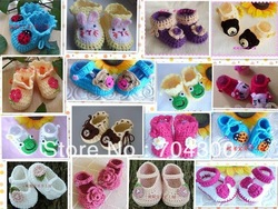 Multi styles Crochet handmade knit Baby Booties / shoes cotton yarn 0-12M baby shoes(China (Mainland))