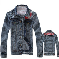 Plus Size Korean Style 2013 Autumn Fashion Mens Slim Patchwork Blue Denim Jacket Coat , Casual Jean Jackets And Coats For Men