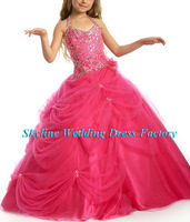 wholesale & retail hot sell 2014 new style Halter Beading Pageant full size flower girl gown girl party dress Sky885
