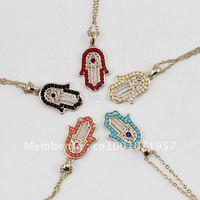 Wholesale hand of fatima hamsa Turkish Evil Eye necklace Jewelry Palm pendant XL602