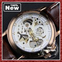 DHL EMS FEDEX Free Shipping 2013 Latest  Mechanical Luxury Style Genuine leather Strap Mens Boys Wrist Watch