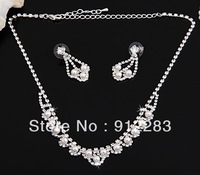 Free Shipping 6sets Silver Plated Crystal Bridal Pearl Wave Necklace Stud Earrings Set