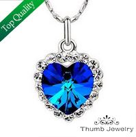 JS N243 Neoglory Titanic Ocean Heart Pendant Necklace For Women Crystal Rhinestone Jewelry Accessories Gift Sale 2014 New Bijoux