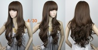 BEST SELLING,24inches 180g  Indian Blended Hair Silky wavy party wigs(#4T33,#4t30,#12,#12B,#1B)