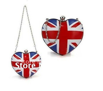 Free shipping!London  Olympic Games Hot sell Skull UK Flag heart shaped Women Girls Clutch Purse Handbag Evening Bag,B027