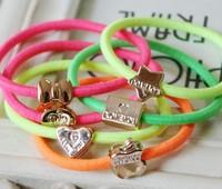 Free Shipping! 100pcs/lot Newest Deisgn Fashion Colorful Elastic Hair Band Crown Apple Star Hair Ties
