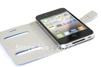 New Design Table Talk Leather Removable Clip Flip cover for iphone 4 4G 4S hot selling
