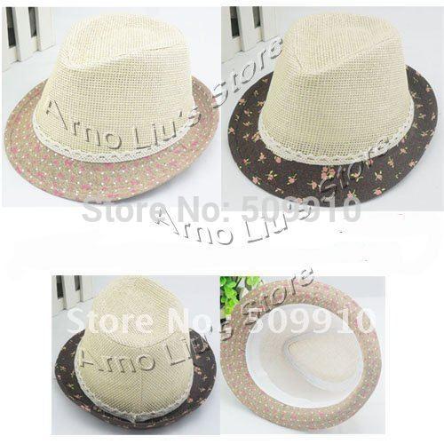 Soft Straw Baby Sun hat, children girls patchwork beige trlby fedora hat , kids headgear 10pcs/lot free shipping(China (Mainland))