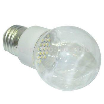 24pcs 3528 SMD 18 LEDs 220V 1W 80LM E27 LED transparent cover bubble ball bulb, special design LED lamp, Low carbon free ship