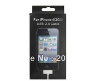 USB 2.0 sync data charger cable for iphone 3g 3gs 4g 4gs with retail box 500pcs/lot free shipping