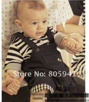 Free shipping Boy T-shirts+Suspenders trousers baby clothing T-shirts+bib overalls baby jumpsuit baby suit T-shirts+pants