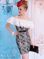 free shipping+wholease 2012 summer Black lace white tight one-piece women dress