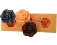 3pcs 3D rose flower Silicone chocolate Soap Mold  handmade soap  Mould For Candy Jelly pudding Cake Craft