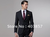 Men Suit  High Quality Wool Business Suit  Custom Made Suit  Slim Fit Suit  Single Breasted Two Button  Black Stripes  MS0302