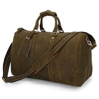 """Free Shipping High Quality Fashion Crazy Horse Leather Unisex Dark Brown JMD Huge Luggage Bag Tote Travel Bag 18"""" Huge  #7077R"""