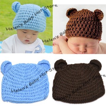 Solid Color Crochet Baby Hat with Ears Handknitted Hats Hand Crochet Baby Beanis Kids Linecap Infant Hat 10pcs/lot MZ-0514(China (Mainland))