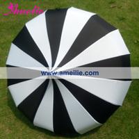 Wholesale Cheap Straight Pagoda umbrella Black and White Stripe Patterns Sun Umbrella available in Stock