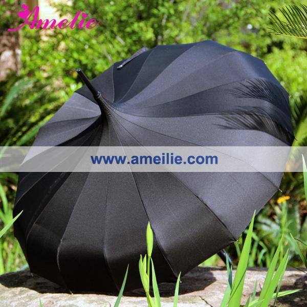 free shipping Japanese Style Lovely Straight umbrella Black Pagoda Umbrella(China (Mainland))