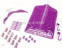 Mixture items of 57 set  Fashionable  ABS plastic velvet flocked non-slip hanger & accessories of hanger