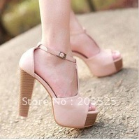 Wholesale Korean version women&amp;#39;s shoes Women&amp;#39;s retro ladies shoes Fish head thick crust waterproof coarse high-heeled sandals