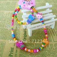 Hello Kitty Kids Jewelry Set Colorful Wood Beads Strand Necklace Stretch Bracelet