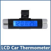 5pcs Auto Car Thermometer Fashionable Digital Backlight Truck Clock LCD Display Two-in-one Clip Deagnostic Tool Detector Doctor