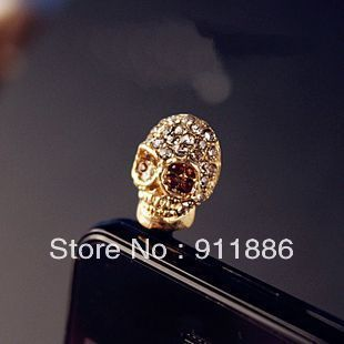 Free Shipping New Charm Jack Headphone Gold Skull Style Crystal Anti Dust Plugs For Iphone SAMSUNG Cell Phone Dust Cover